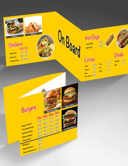 yellow trifold burger menu sample