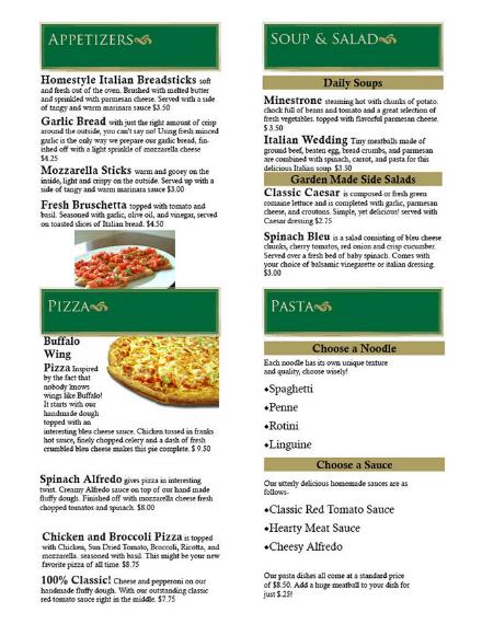 zest italian food menu example