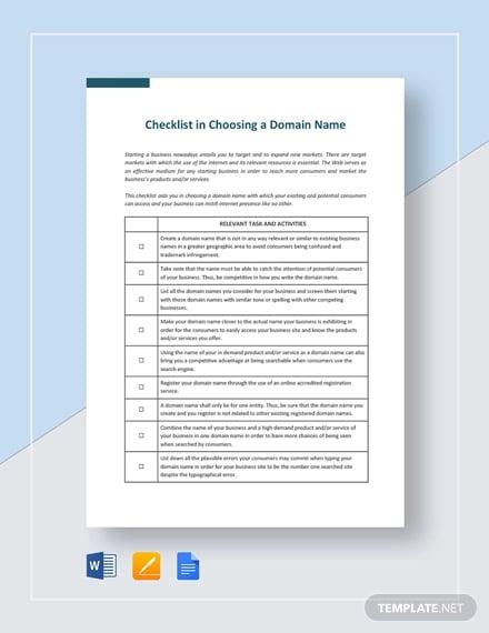 checklist choosing a domain name