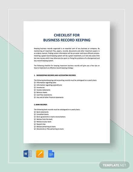 checklist key record keeping