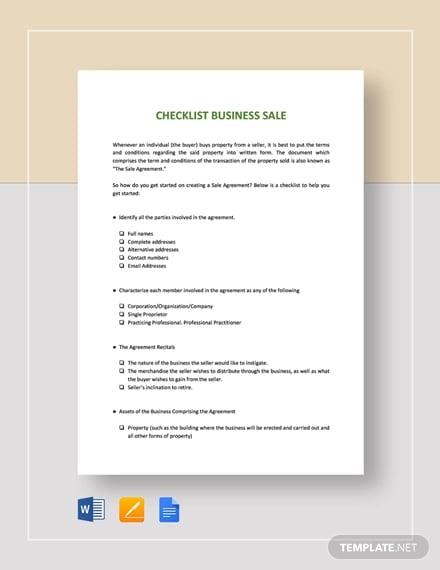 checklist sale of business