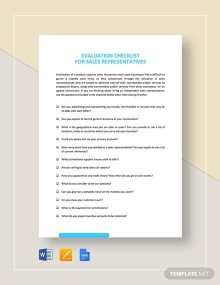 checklist saled representative evaluation
