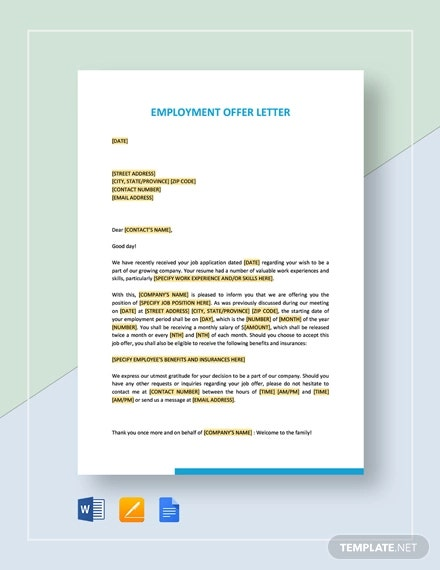 Simple Employment Offer Letter Template