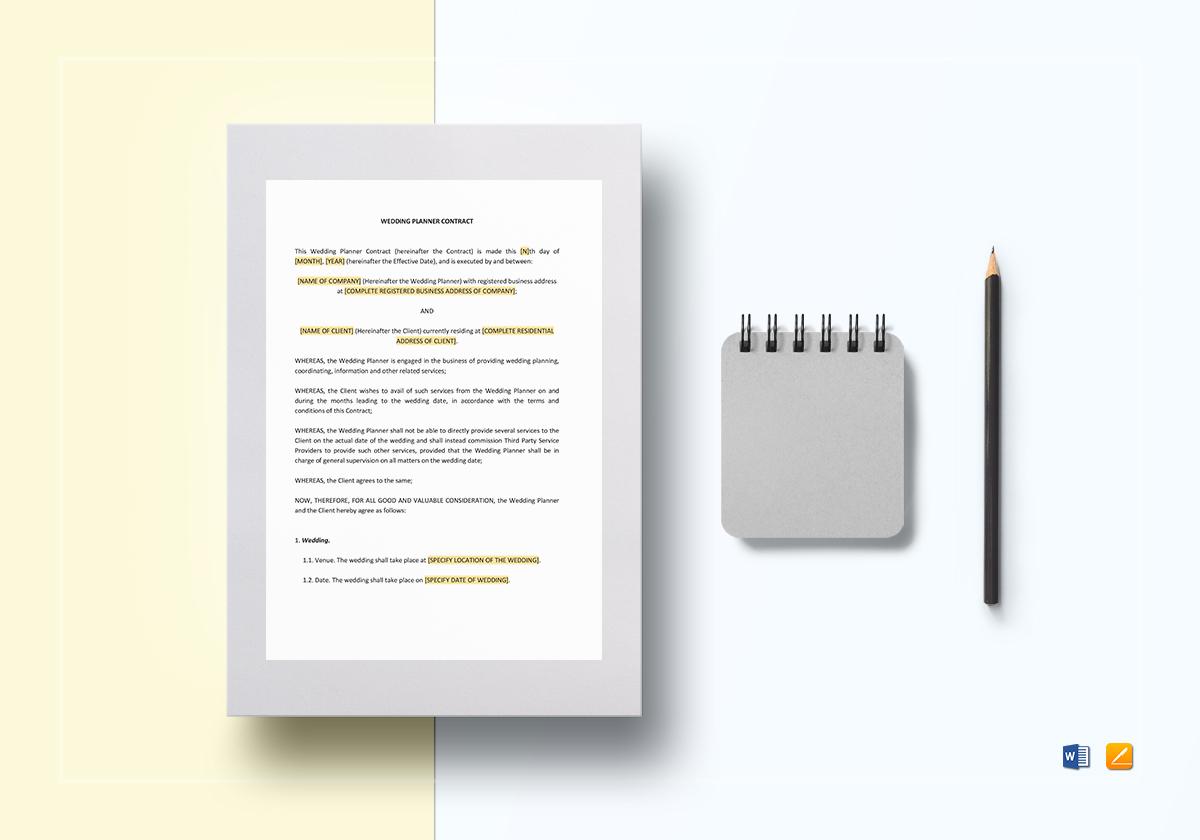 wedding planner contract template mockup