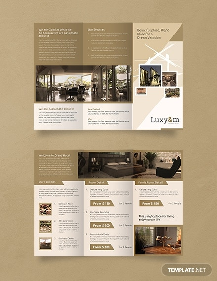 a3 hotel trifold brochure layout