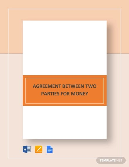 agreement between two parties for money template