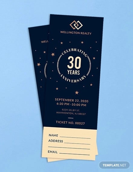 anniversary ticket template