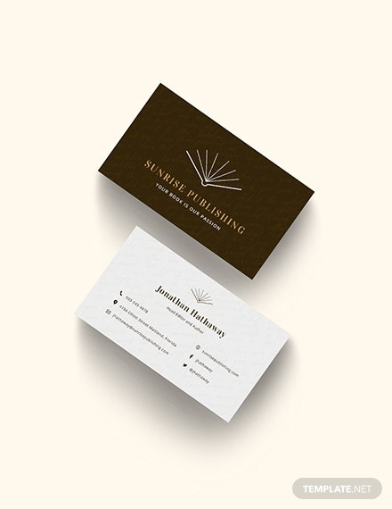 author business card template