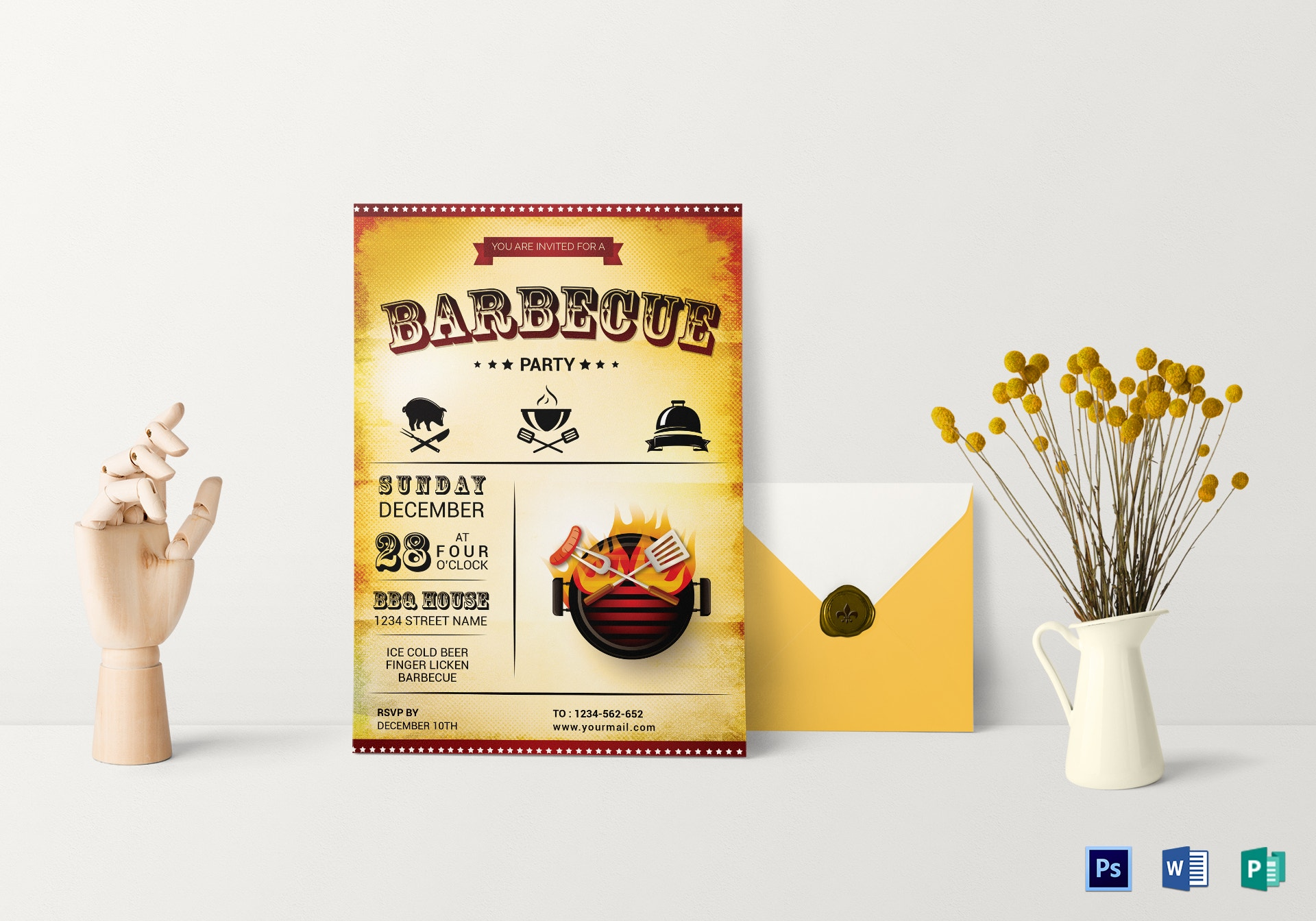 awesome rustic bbq party invitation
