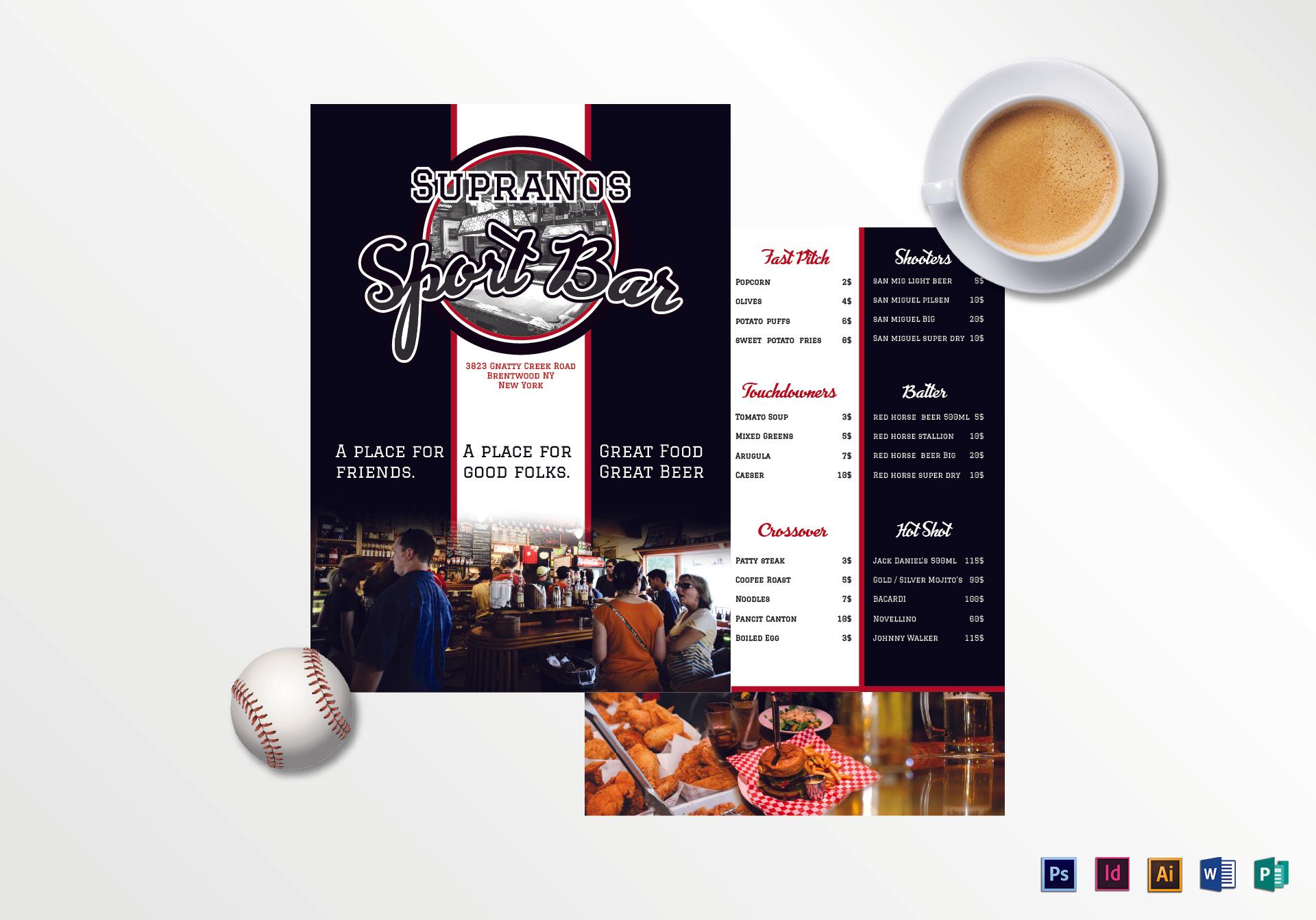 bar menu mockup