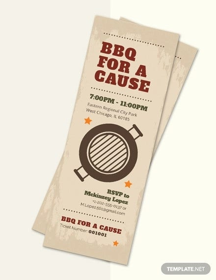 bbq fundraiser ticket template