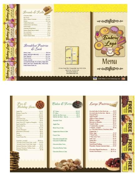 bakery pastries menu card sample