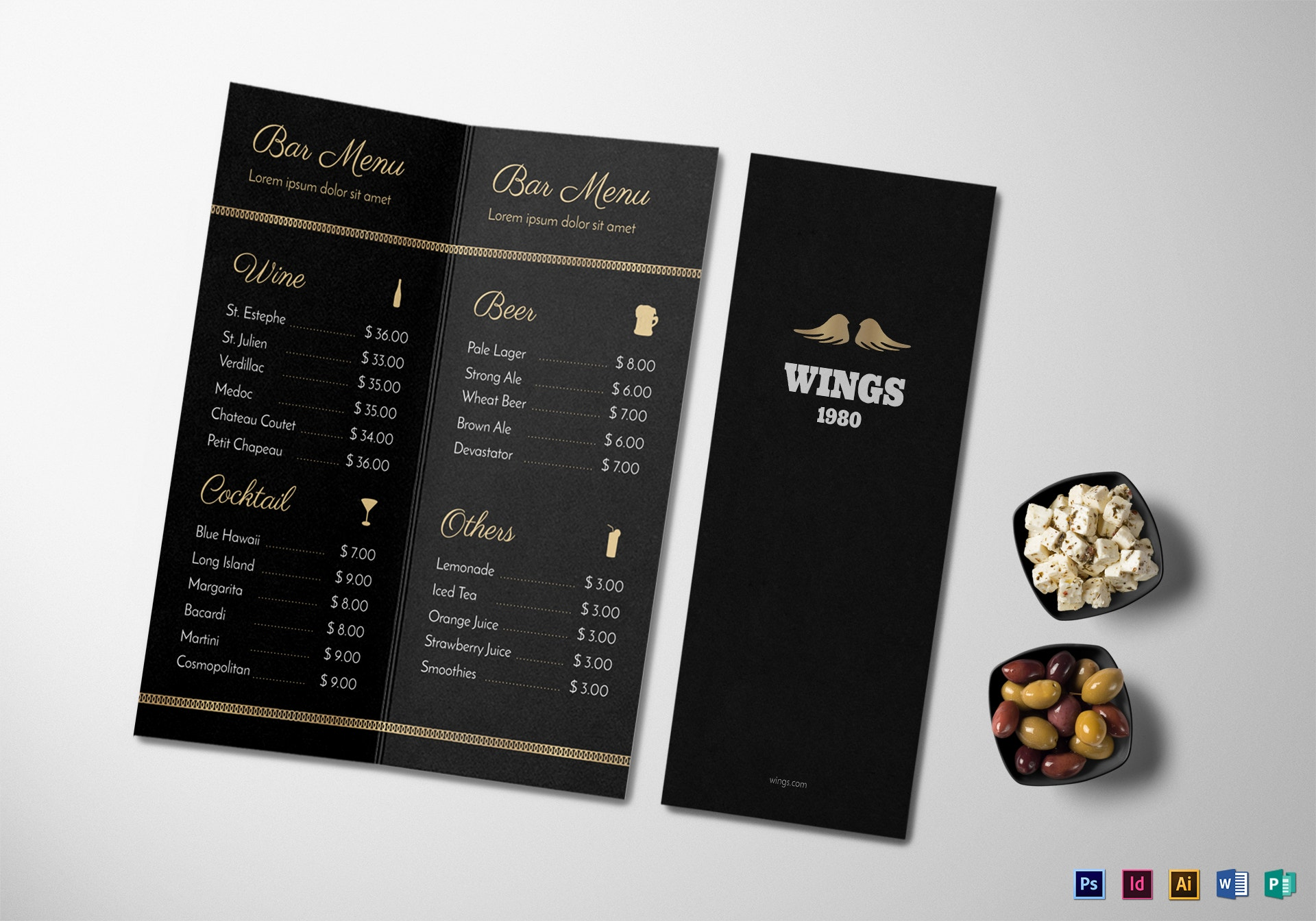 bar menu mock up