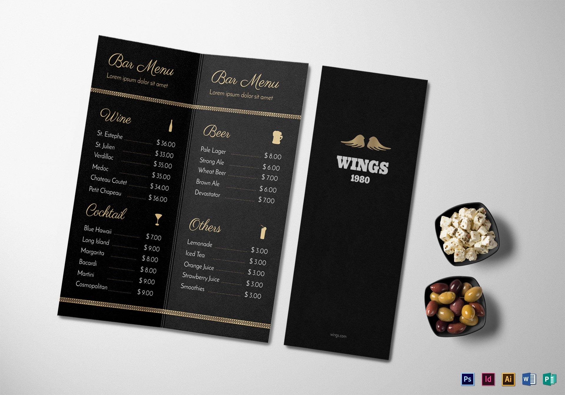 bar menu mock up
