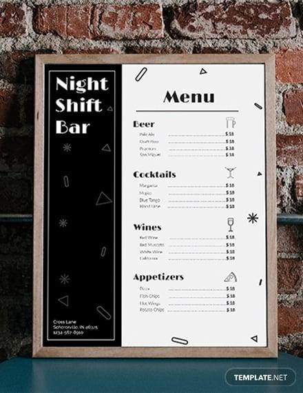 bar menu templates 1x