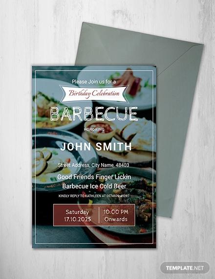 barbecue birthday celebration invitation sample