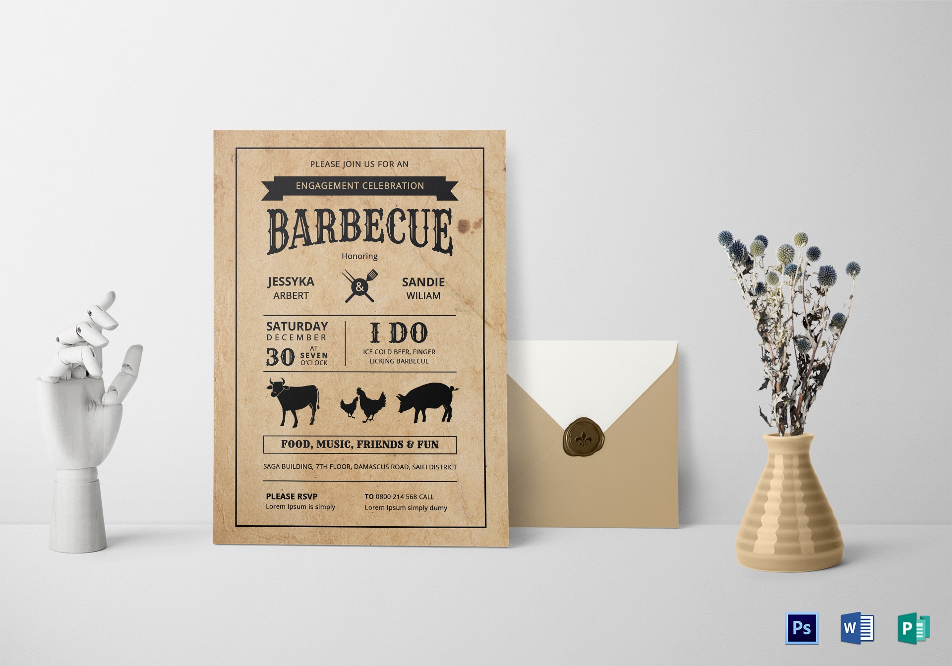 barbecue engagement party invitation template