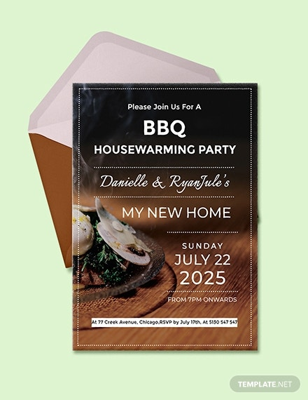barbecue housewarming party invitation sample
