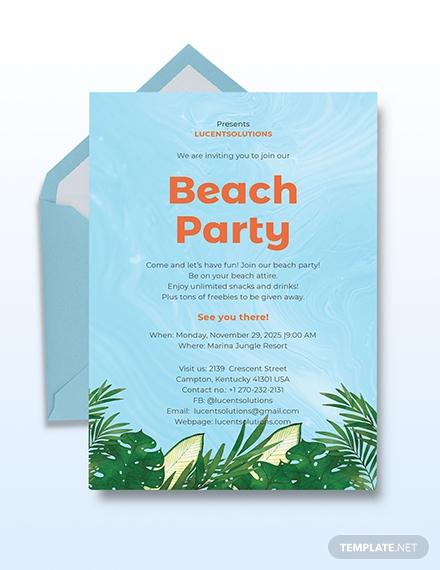 beach party invitation card format
