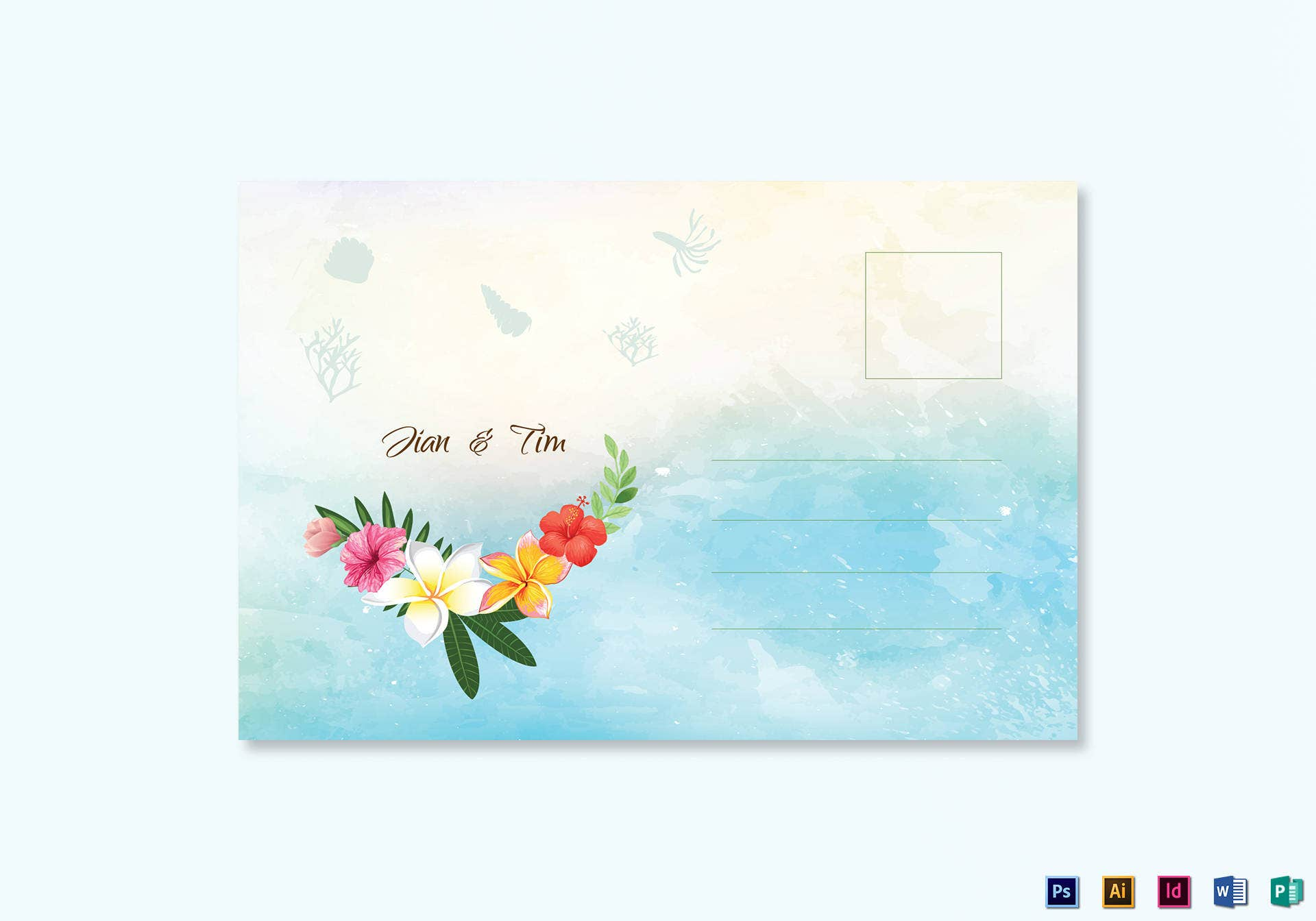 beach wedding postcard template