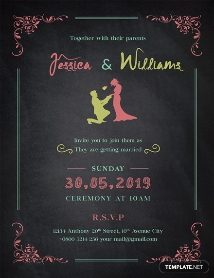 beautiful chalkboard wedding invitation layout