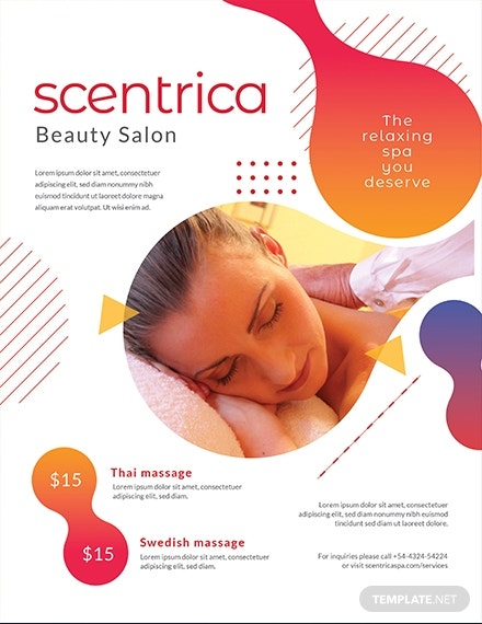 beauty spa flyer template 1x