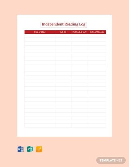 blank independent reading log