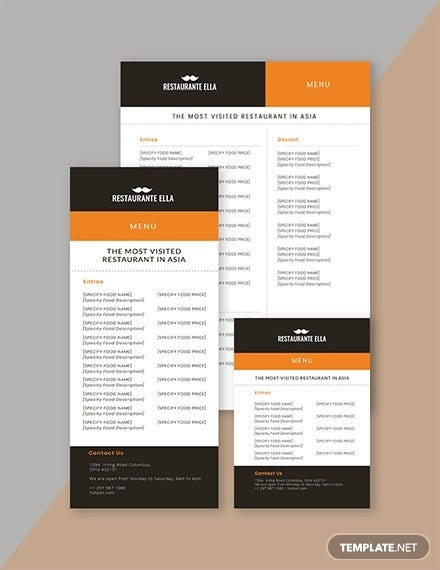 25 Restaurant Menu Templates Word Psd Free Premium