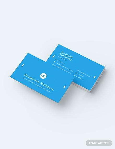 blue builders business card format