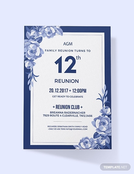 blue flowers family reunion invitation