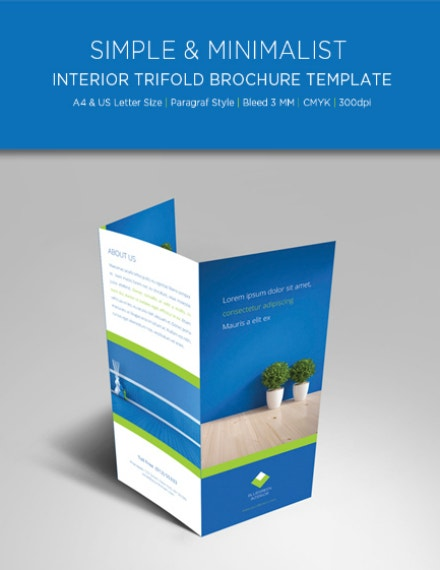 blue trifold interior brochure layout