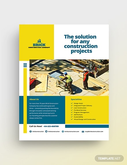 brick solutions construction company flyer