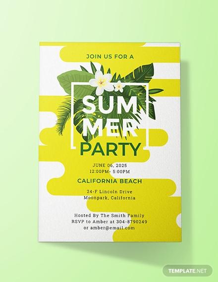 california summer party invitation template