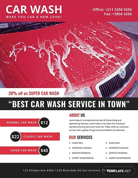 car wash advertising flyer template 1x