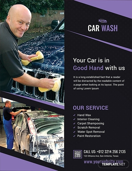 car wash agency flyer template 1x