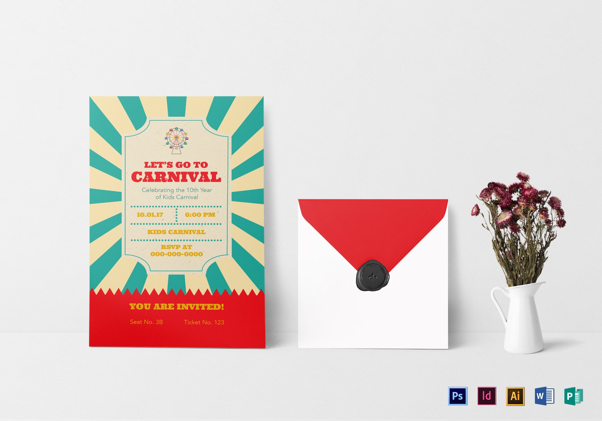 carnival ticket invitation card example