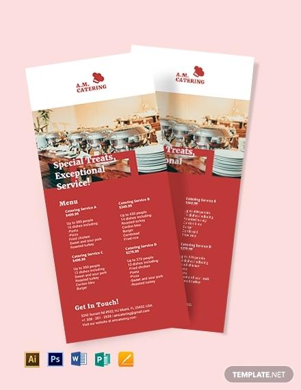 catering menu rack card template