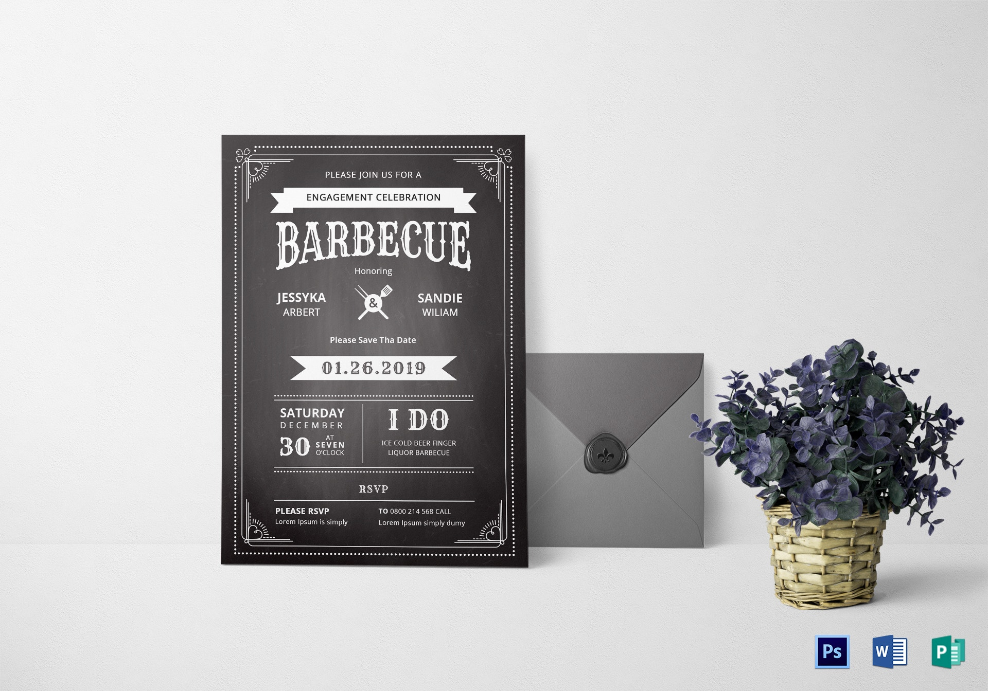 chalkboard bbq party invitation sample