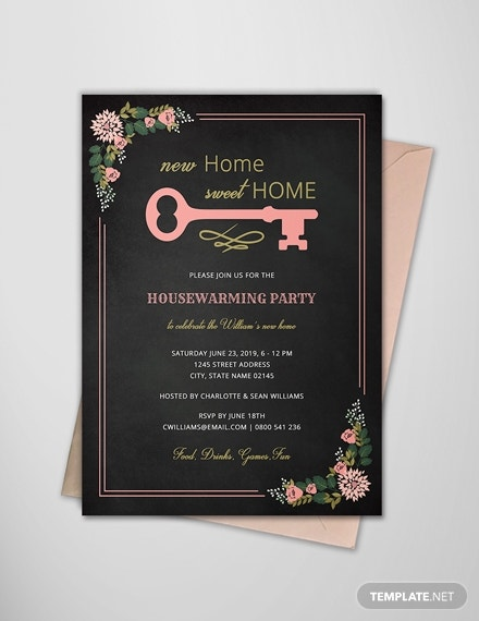 chalkboard housewarming invitation card example