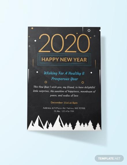 chalkboard new year invitation layout
