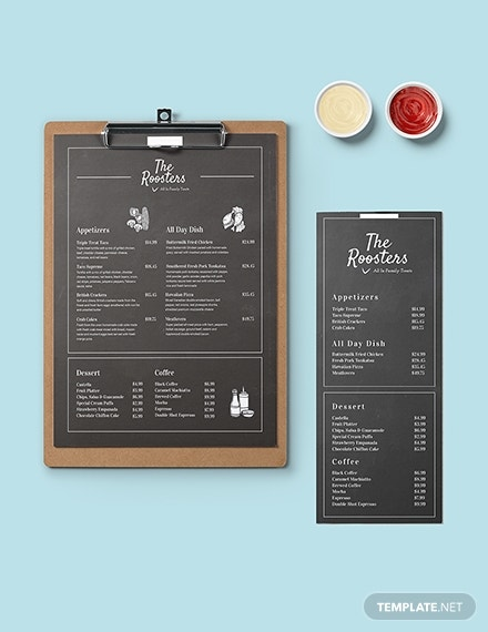 chalkboard school menu card design