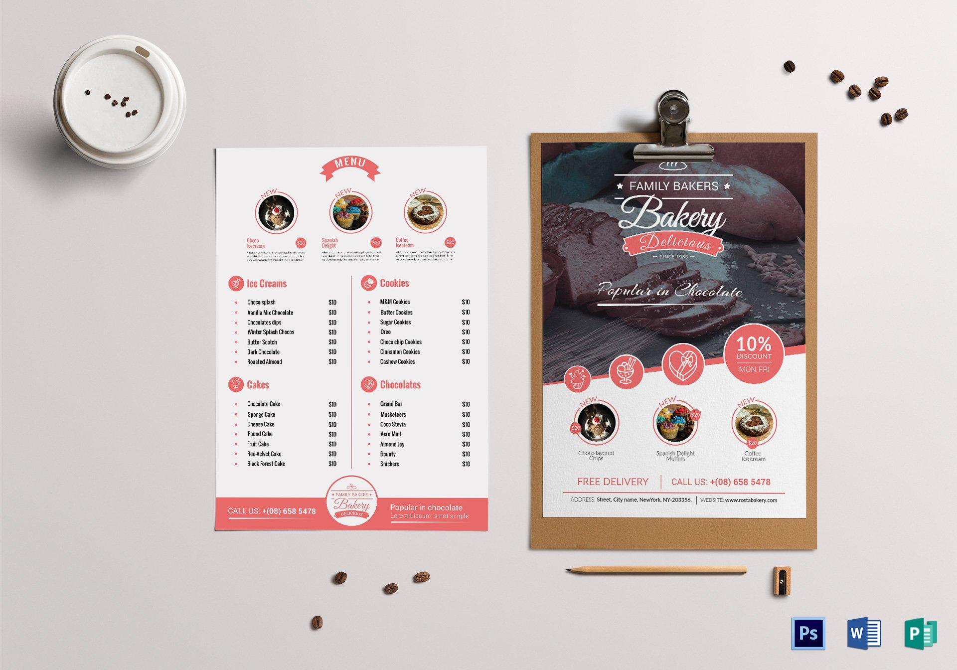 cherry family bakery menu example