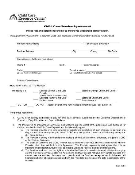 child care service agreement 1