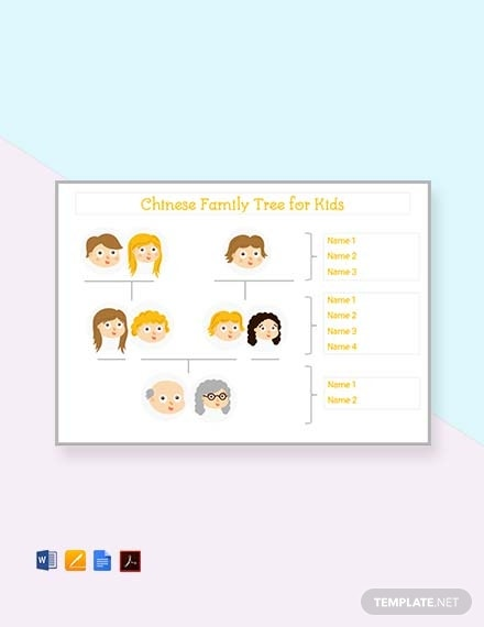 chinese family tree template for kid s