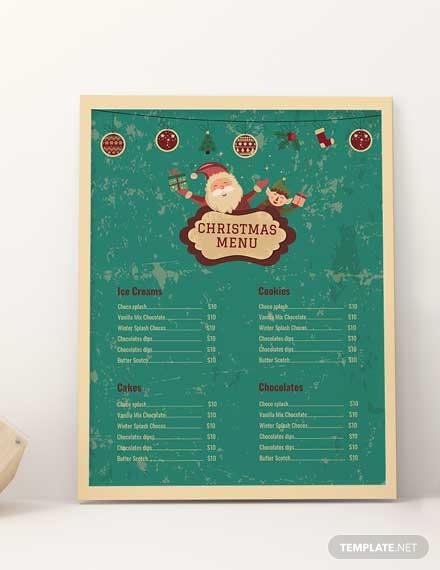 christmas bakery menu card template