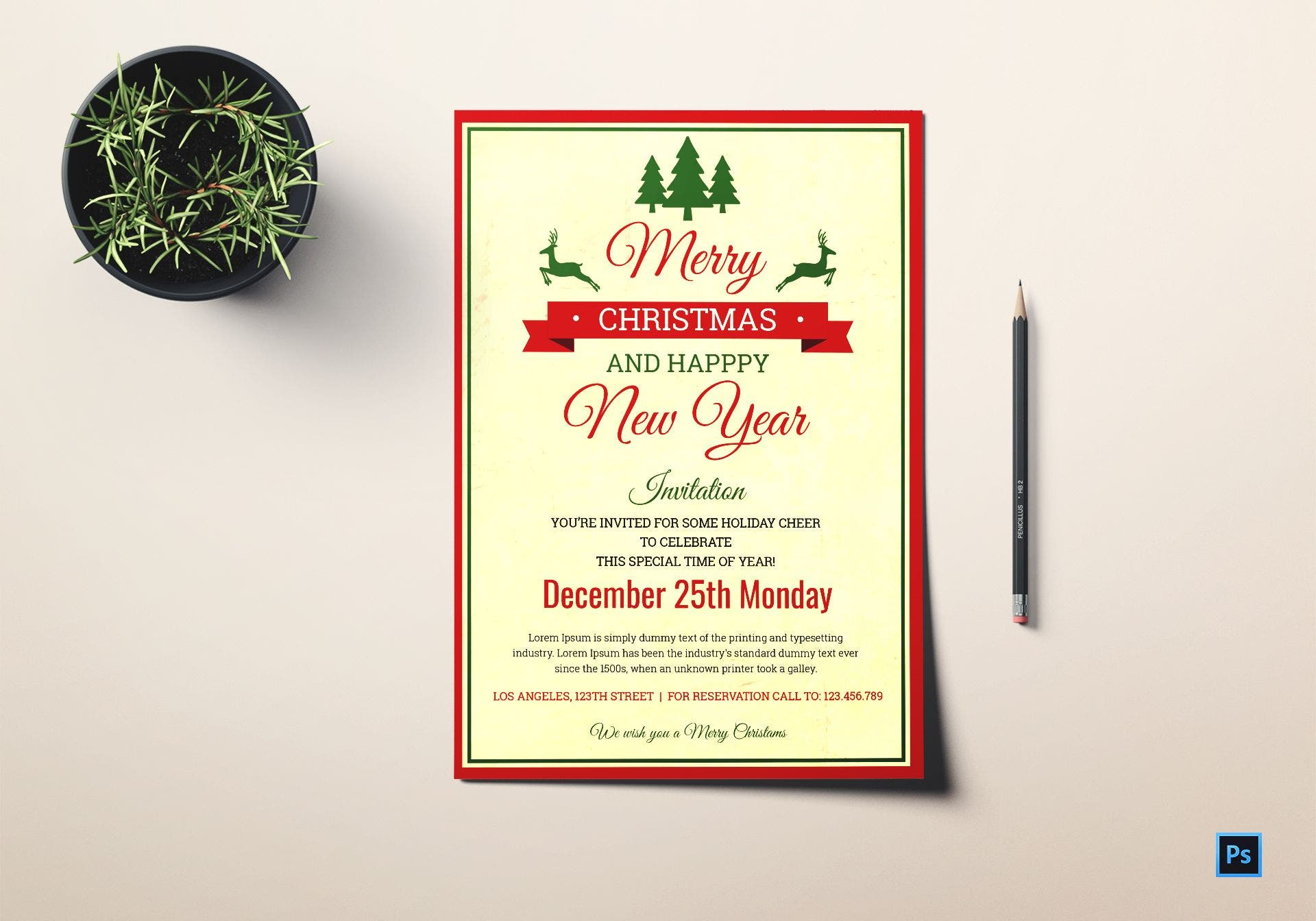 christmas new year invitation template