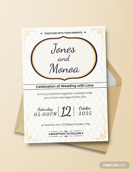 classic floral wedding invitation card