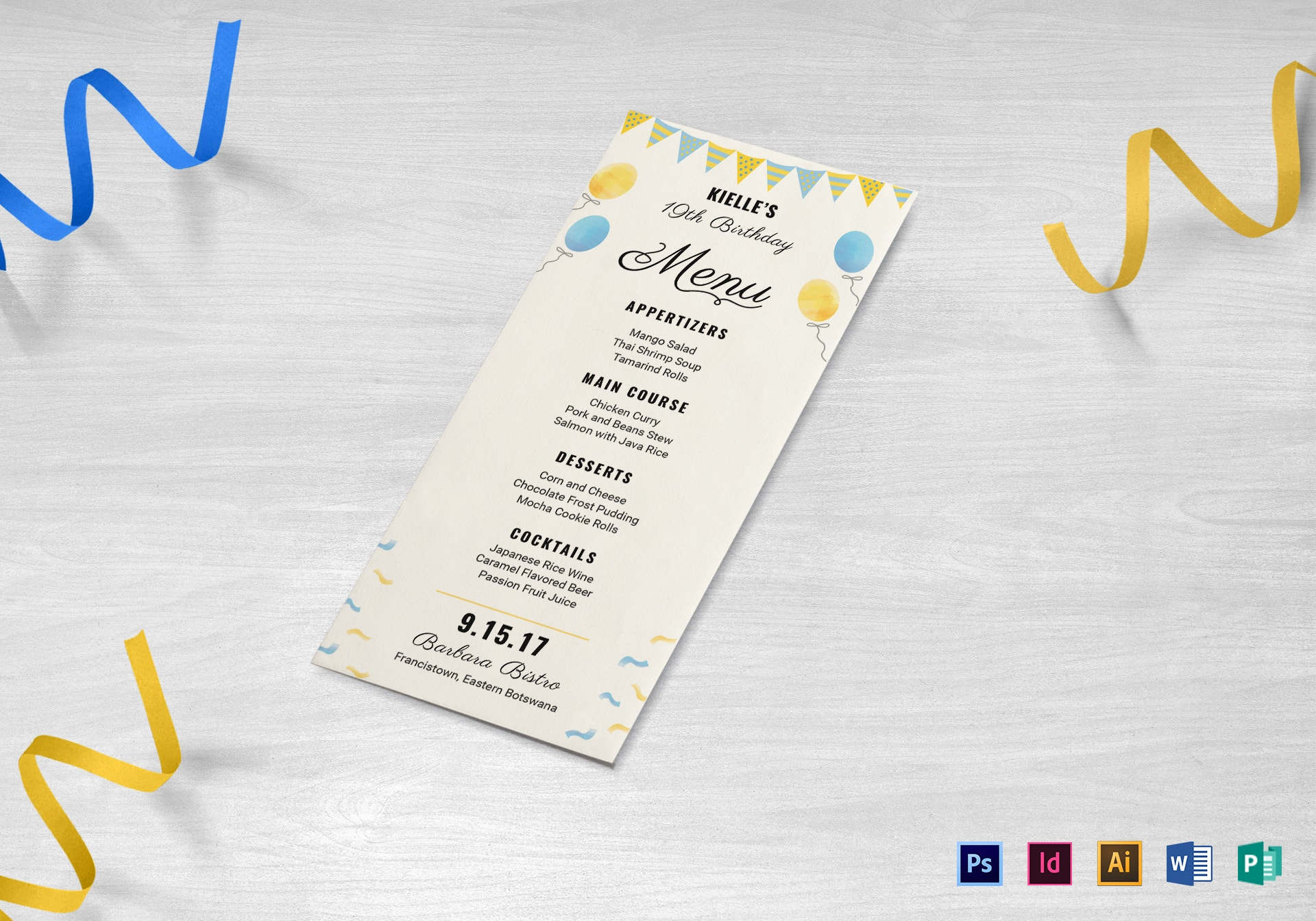 clean birthday party menu template