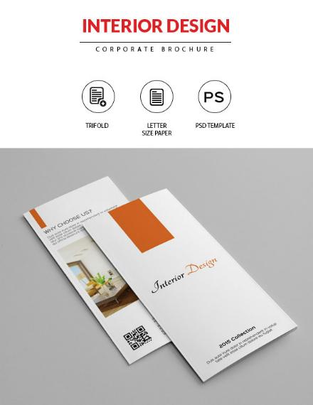 clean minimalist interior trifold brochure