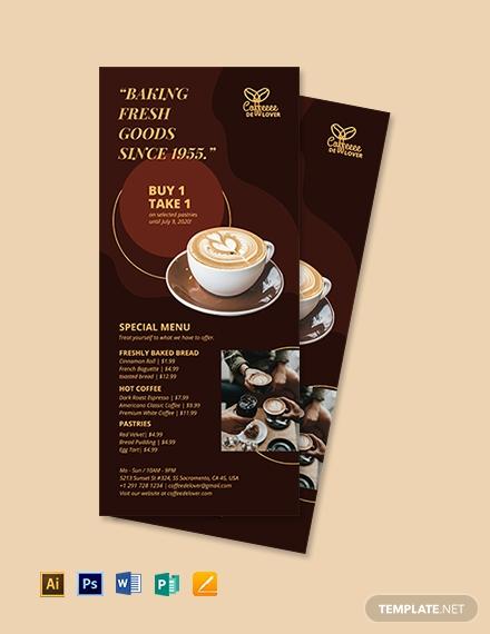 coffee shop rack card template